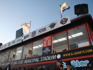 Press box at San Jose Giants games where Gameday application is used to gather big data stats for fans