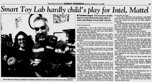 The Eugene Register Guard covered the Smart Toy Lab in February 2000. (source: Google News archive)