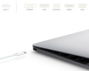 The new USB Type-C connector that replaces power, USB Standard-A,  DisplayPort, HDMI and VGA on the new Apple MacBook.