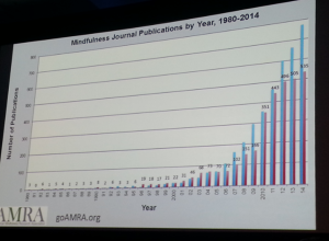 Interesting in mindfulness on the rise, according to data from the American Mindfulness Research Association. (The blue bar is for general publications on mindfulness; the red bar is medical publications on mindfulness.) Photo: Bea Rataj