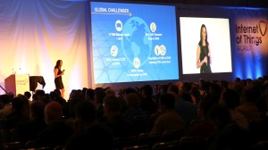Schooler delivering the opening keynote at IoT World 2015 in San Francisco, California.