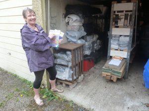 Freda Clark at garage