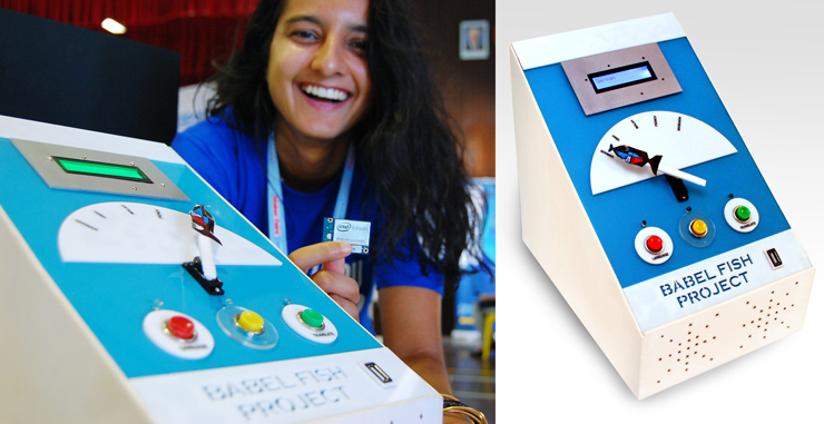 "Like most college students nowadays, 21-year old Illisha Ramachandran has friends from across the world. So she thought it'd be fun to build a box capable of translating phrases using Google's speech API across five languages—Mandarin, Malay, French, German, and English. Using the device is simple: select a language, type into a cell phone wirelessly connected to the device, and hit Translate. She names her creation the ""BabelFish Project,"" a clear nod to her favorite movie. ""I got inspired by the Hitchhiker's Guide to the Galaxy, and I sourced the parts from the local hardware store for under $100. My dad helped too!"" she said with a laugh, as her father, Hari, who happens to be a principal engineer in Intel Singapore, grinned along. Will there be a version 2.0? ""Yup, I definitely want to iterate, and make the next version smaller, cheaper, and faster to run."""