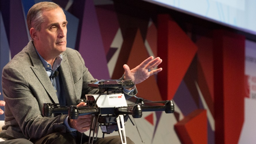 Brian Krzanich, chief executive officer of Intel Corporation, describes the company's technology in a Yuneec unmanned aerial vehicle on Monday, Feb. 22, 2016, at the 2016 Mobile World Congress. Mobile World Congress is among the largest conferences organized by mobile operators from around the globe. It runs Feb. 22-25, 2016, in Barcelona, Spain. (CREDIT: Shawn Morgan/Intel Corporation)
