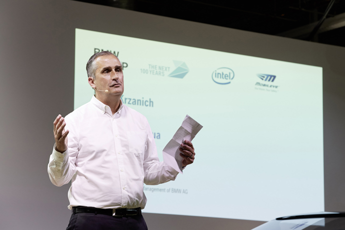 Intel Chief Executive Officer Brian Krzanich speaks at a news co