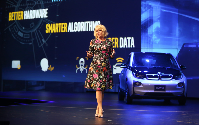 Intel's Diane Bryant, executive vice president and general manager of the Data Center Group, speaks to investors and media about the connection between the internet of things and the data center, including machine and deep learning solutions, as part of an investor event at the 2016 Intel Developer Forum in San Francisco on Thursday, Aug. 18, 2016. (Credit: Intel Corporation)