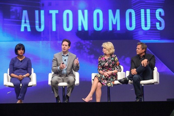 Intel leaders discuss the future of autonomous vehicles during an investor event at the 2016 Intel Developer Forum in San Francisco on Thursday, Aug. 18, 2016. They are (from left): Asha R. Keddy, vice president of the Client and Internet of Things Businesses and Systems Architecture Group and General Manager of Next Generation and Standards; Doug Davis, senior vice president and general manager of the Internet of Things Group; Diane Bryant, executive vice president and general manager of the Data Center Group; and Doug Fisher, senior vice president and general manager of the Software and Services Group. (Credit: Intel Corporation)