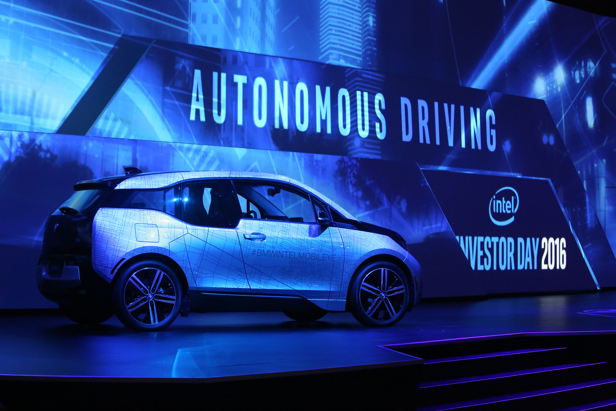 A BMW i3 is on display as part of Intel's Investors Day events at the 2016 Intel Developer Forum in San Francisco on Thursday, Aug. 18, 2016. (Credit: Intel Corporation)