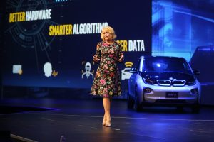 Intel's Diane Bryant, executive vice president and general manager of the Data Center Group, speaks to investors and media about Intel's goals in the autonomous vehicle market as part of Intel's Investors Day events at the 2016 Intel Developer Forum in San Francisco on Thursday, Aug. 18, 2016. (Credit: Intel Corporation)