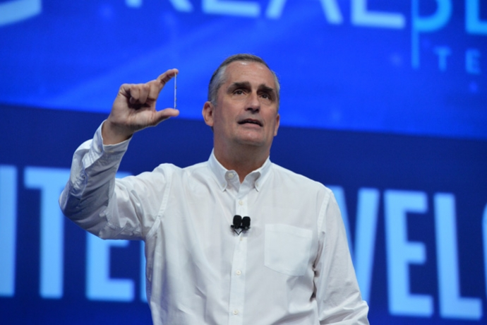Intel CEO Brian Krzanich displays an Intel RealSense camera at the 2016 Intel Developer Forum in San Francisco on Tuesday, Aug. 16, 2016, during his opening keynote presentation. His presentation offered perspective on the unique role Intel will play as the boundaries of computing continue to expand. (Credit: Intel Corporation)