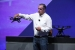Intel CEO Brian Krzanich displays the Aero Ready To Fly drone — a fully-assembled quadcopter with compute board, integrated depth and vision capabilities using Intel RealSense Technology. Krzanich displayed the new quadcopter during his keynote at the 2016 Intel Developer Forum in San Francisco on Tuesday, Aug. 16, 2016. (Credit: Intel Corporation)