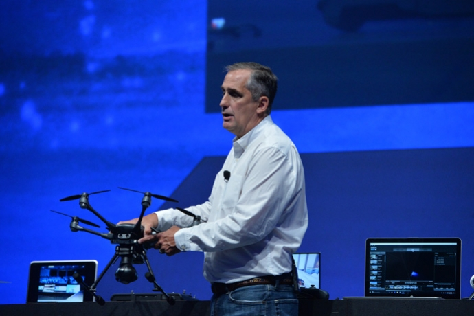 Intel CEO Brian Krzanich displays a Yuneec Typhoon H drone during his keynote at the 2016 Intel Developer Forum in San Francisco on Tuesday, Aug. 16, 2016. (Credit: Intel Corporation)
