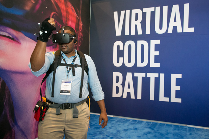 Charles Johnson-Bey of Lockheed Martin experiences the game Virtual Code Battle at the 2016 Intel Developer Forum in San Francisco on Tuesday, Aug. 16, 2016. (Credit: Intel Corporation)