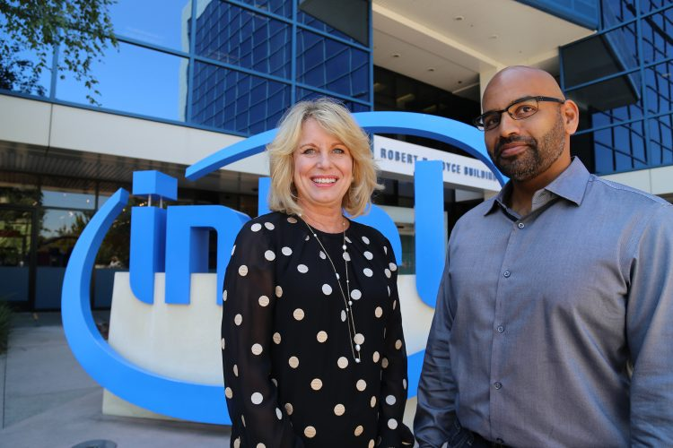 Intel's Diane Bryant with Nervana's CEO and co-founder, Naveen Rao