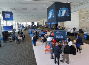 Attendees look at Intel products at the 2016 Intel Developer Forum in San Francisco on Tuesday, Aug. 16, 2016. (Credit: Intel Corporation)