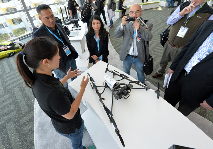 Intel's Madeleine Ong talks about Intel's AscTec Falcon 8 drone during a demonstration at the 2016 Intel Developer Forum in San Francisco on Wednesday, Aug. 17, 2016. (Credit: Intel Corporation)
