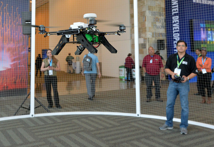 A ready-to-fly drone that uses Intel's Aero Compute Board and RealSense technology is flown by Intel's Jeff Lo during a demonstration at the 2016 Intel Developer Forum in San Francisco on Wednesday, Aug. 17, 2016. (Credit: Intel Corporation)