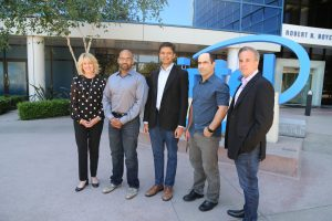 Intel's Diane Bryant with Nervana Systems' co-founders Naveen Rao, Arjun Bansal, Amir Khosrowshaki and Intel vice president Jason Waxman