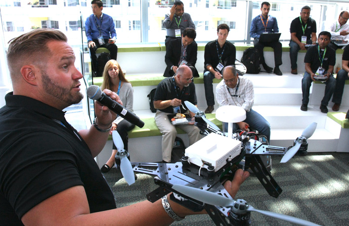Intel's Nate Trent talks about Intel's Aero Ready To Fly Drone during a demonstration at the 2016 Intel Developer Forum in San Francisco on Tuesday, Aug. 16, 2016. (Credit: Intel Corporation)