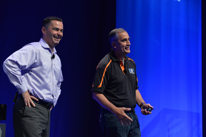 Brian Krzanich, Intel chief executive officer, and Dan McNamara (left), corporate vice president and general manager of Intel's Programmable Solutions Group, address the audience at the inaugural Intel SoC FPGA Developer Forum in San Francisco on Thursday, Aug. 18, 2016. (Credit: Intel Corporation)