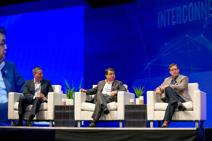 Murthy Renduchintala, president of Intel's Client and Internet of Things (IoT) Businesses and Systems Architecture Group, is joined by (from left) Tom Keathley, senior vice president at AT&T, Seize Onoe, chief technology officer at Docomo, and John Gordon, chief digital officer at Current powered by GE at the 2016 Intel Developer Forum in San Francisco on Wednesday, Aug. 17, 2016. During his keynote, Renduchintala and the group spoke about the importance of 5G in an increasingly connected world. (Credit: Intel Corporation)
