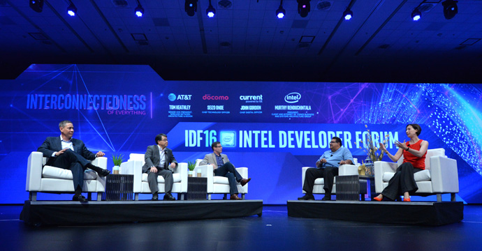 Murthy Renduchintala (second from right), president of Intel's Client and Internet of Things (IoT) Businesses and Systems Architecture Group, is joined by (from left) Tom Keathley, senior vice president at AT&T, Seize Onoe, chief technology officer at Docomo, John Gordon, chief digital officer at Current powered by GE, and high-tech journalist Stacey Higginbotham at the 2016 Intel Developer Forum in San Francisco on Wednesday, Aug. 17, 2016. During his keynote, Renduchintala and the group spoke about the importance of 5G in an increasingly connected world. (Credit: Intel Corporation)