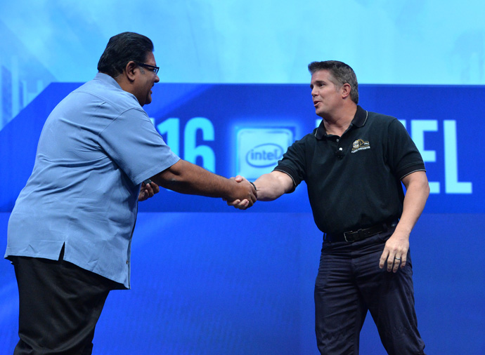 Murthy Renduchintala, president of Intel's Client and Internet of Things (IoT) Businesses and Systems Architecture Group, introduces John Leonard, captain with the East Valley Fire Department in Arizona, at the 2016 Intel Developer Forum in San Francisco on Wednesday, Aug. 17, 2016. During his keynote, Renduchintala and Leonard discussed Intel's role with Honeywell in a program to make firefighting safer. (Credit: Intel Corporation)