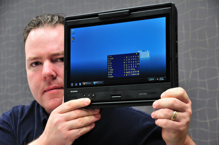 Intel-application-engineer-Travis-Bonifield-with-Stephen-Hawkings-Computer