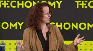 Genevieve Bell speaks Nov. 11, 2016, at the Techonomy 2016 conference in Half Moon Bay, California. Her presentation centered on how artificial intelligence is making machines smarter and what that means for security and privacy.