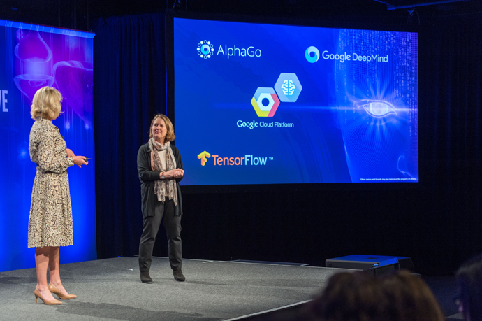Intel's Diane Bryant (left) shares the stage with Diane Greene