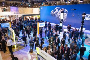 Scenes from Mobile World Congress 2017 on Feb. 27, 2017, including the Intel Corporation demonstration booth. Intel Corporation is presenting much of its communications technology at Mobile World Congress 2017. The event, which runs from Feb. 27 to March 2 in Barcelona, Spain, focuses on the mobile communications industry. (Credit: Intel Corporation)