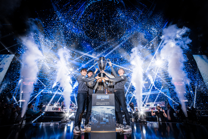 "Flash Wolves celebrate their ""League of Legends"" victory at the Intel® Extreme Masters World Championship competition in Katowice, Poland on Sunday, Feb. 26. (Credit: ESL 