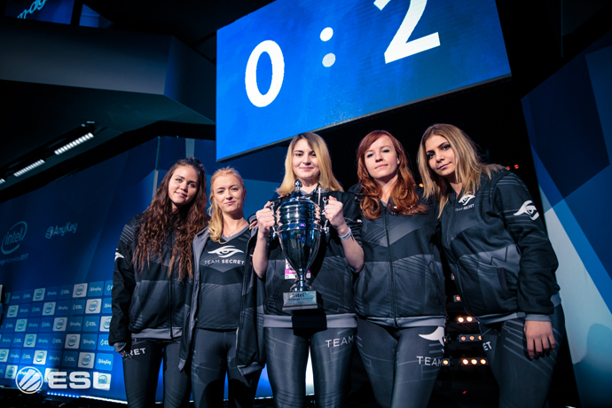 Team Secret celebrates their win in the third annual Intel Chall