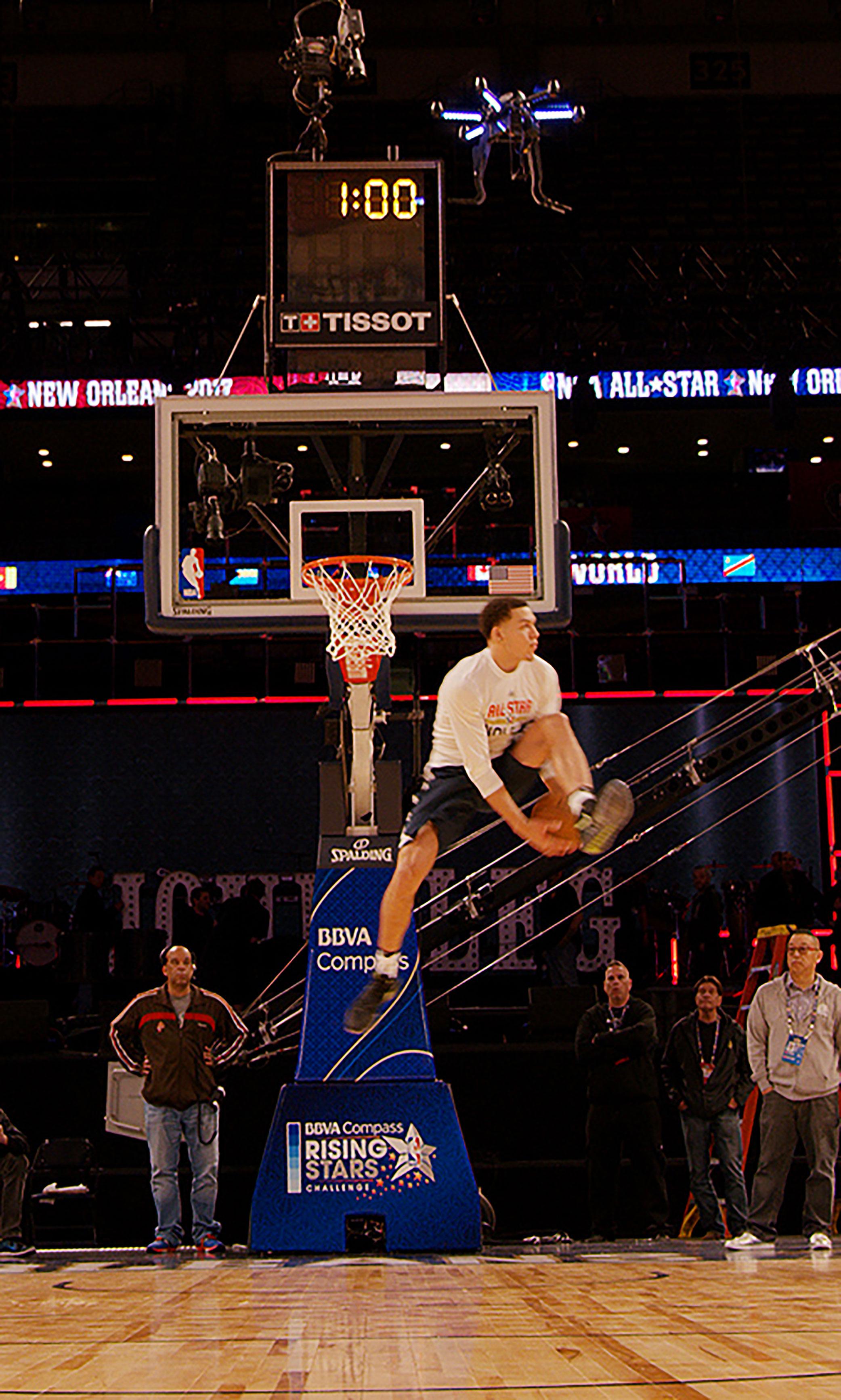 NBA Forward Aaron Gordon Practices With An Intel Drone Ahead Of The 2017 Verizon Slam