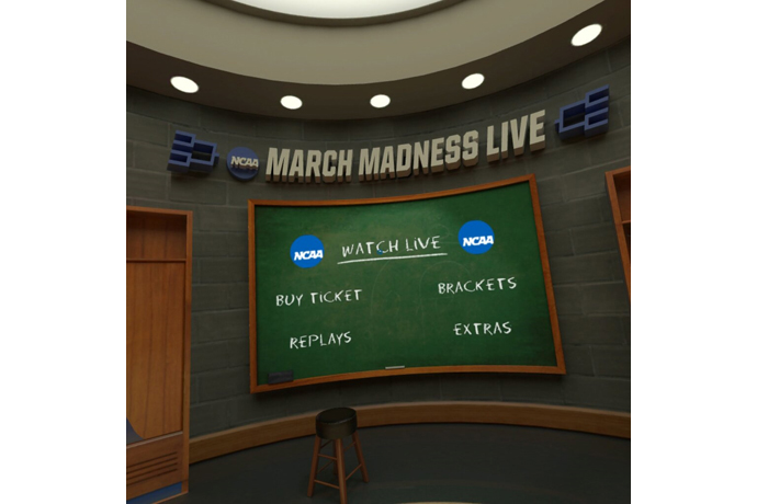 This is the virtual reality view of the NCAA March Madness Live
