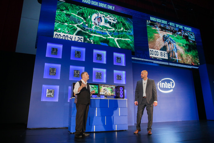 Intel's Gregory Bryant shows the power of Intel® Optane™ me