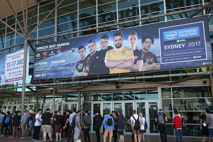 Crowds gather outside Qudos Bank Arena for the kick off of IEM Season 12 in Sydney, Australia.
