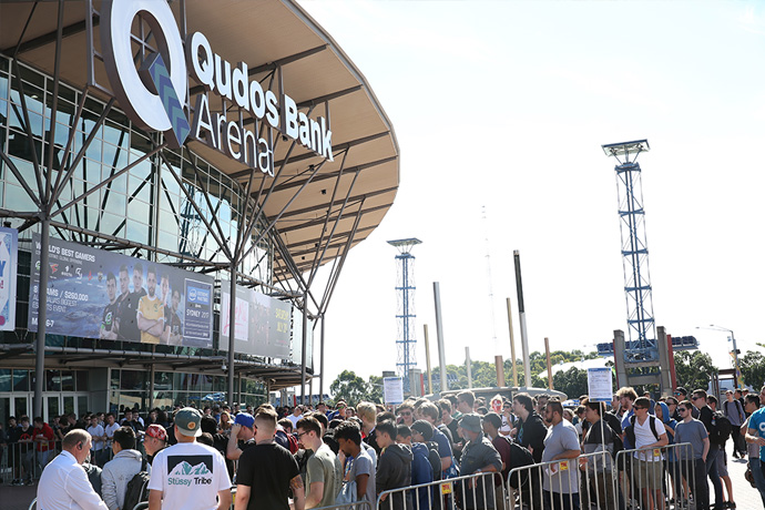 Crowds gather outside Qudos Bank Arena for the kick off of IEM Season 12 in Sydney, Australia