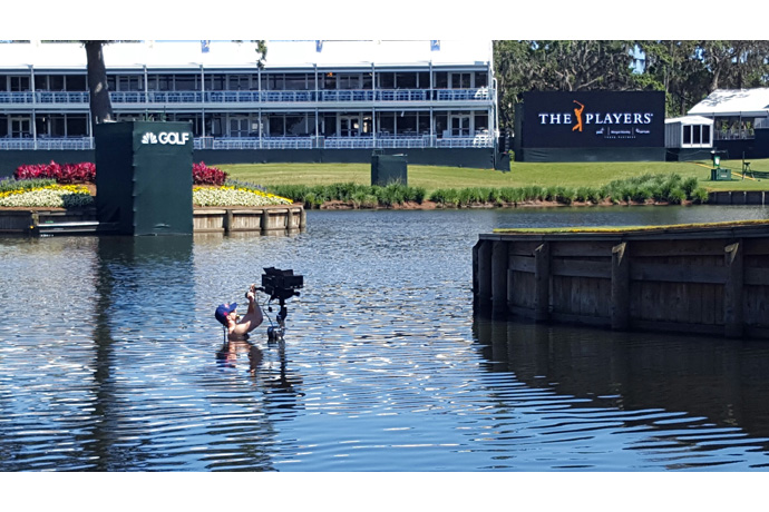 Blake Rowe, from Intel True VR, jumps in to the water at the 17t