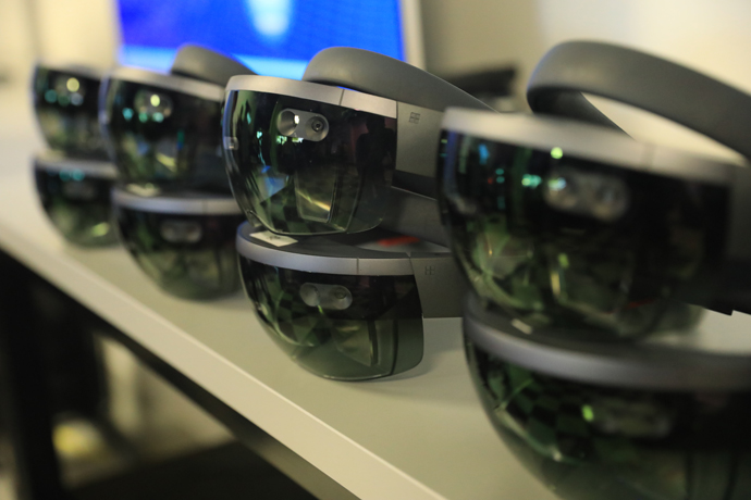 Microsoft Hololens headsets are used to display the transfer of