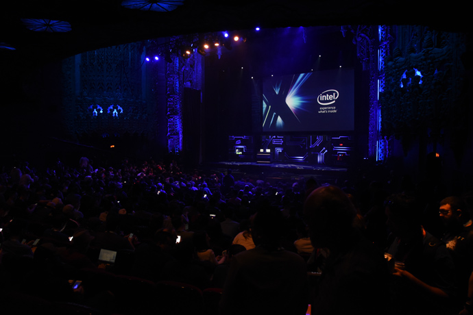 PC gaming fans attend Intel's E3 press conference where the comp