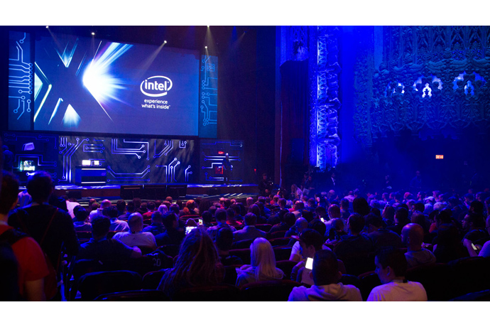 PC gaming fans attend Intel's E3 press conference where the co