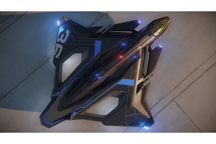 An in-game render shows the Sabre Raven, an exclusive ship for R