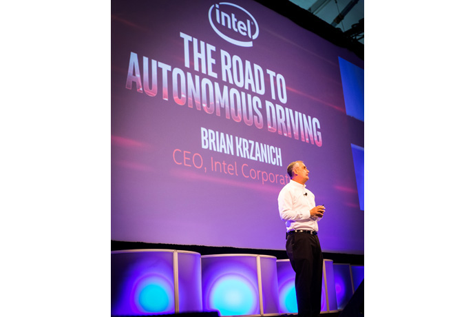 Intel Corporation CEO Brian Krzanich presents a keynote presenta