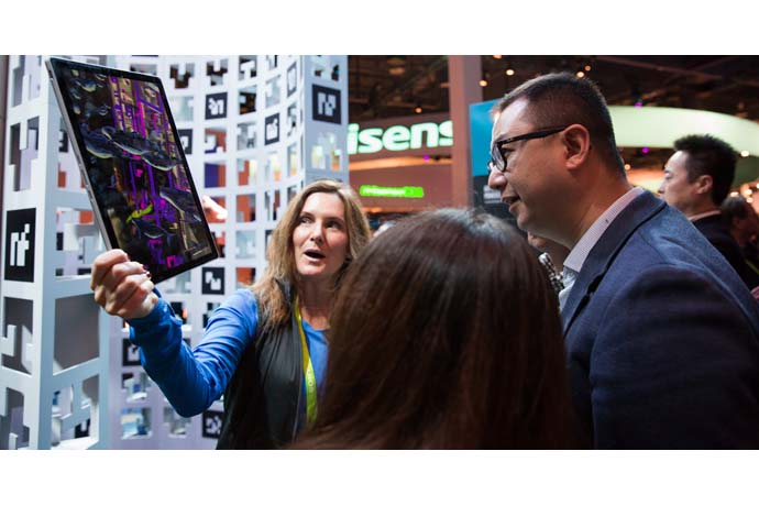Augmented reality tablets immerse visitors to Intel's 2018 CES b