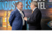 Bob Swan (left), Intel chief executive officer, greets Thomas Ba