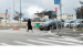 A pedestrian crosses in front of Mobileye's autonomous vehicle