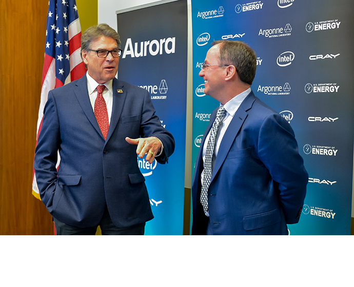 "U.S. Secretary of Energy Rick Perry (left) and Intel CEO Bob Swan are shown Monday, March 18, 2019, in Chicago at an announcement regarding the ""Aurora"" supercomputer. Intel will deliver the United States' first exascale system to Argonne National Laboratory in 2021. (Credit: Argonne National Laboratory)"