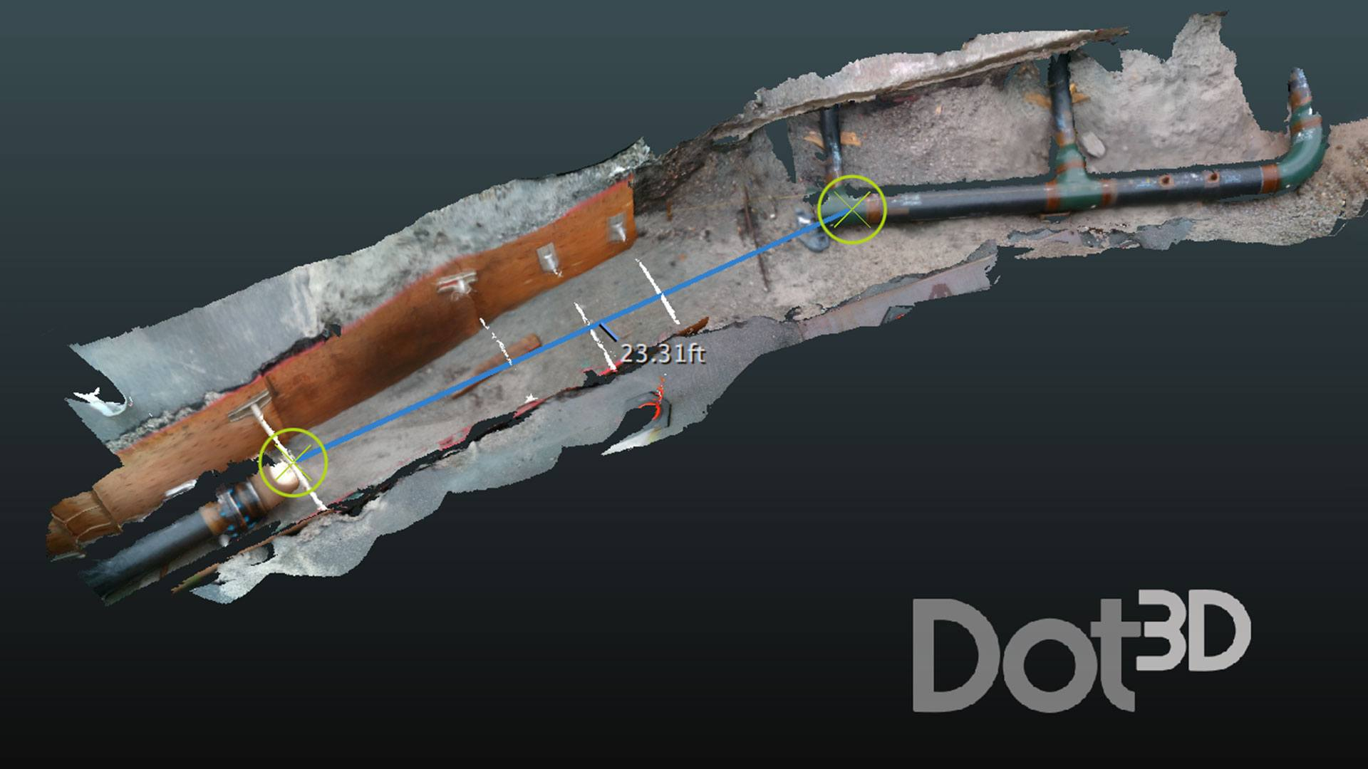 3D Scan of a broken pipe done with Dot3D Pro